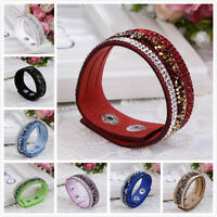 2016 Fashion Crystal Rhinestone Leather Wrap Wristband Cuff Punk Bracelet Bangle