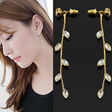 New Fashion Women's Party Crystal Rhinestone Long Branch Leaves Earrings