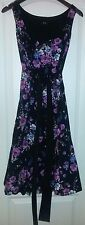 F&F BLACK & PURPLE FLORAL DRESS WITH NETTED UNDER SKIRT 10 NWOT WEDDING PROM