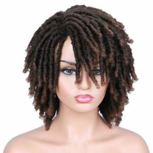 Short Afro Ombre Brwon Dreadlocks Crochet Twist Curly Wig Braids +20 beads gift
