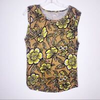 Ann Taylor Loft 100% linen tropical print top Women's Small