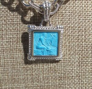 TAGLIAMONTE Sterling Silver HAND CARVED TURQUOISE CAMEO PENDANT ITALY NEW
