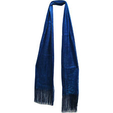 Royal Blue Metallic Dazzling Sparkling Shimmering Fringed Shawl Wrap Scarf