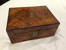 Antique Writing slope oak brass bound late Circa 1830 George IV - Burr Walnut