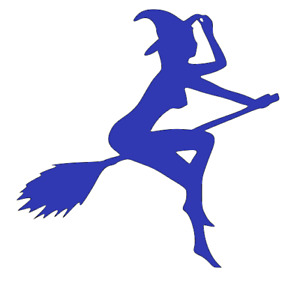 Naked, Sexy, Witch, On Broomstick, Halloween, Wall, Door, Car, Decal, Sticker.