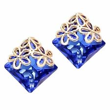 Gold Hollow Flowers Royal Blue Crystal Rhombus Evening Stud Earrings E1178
