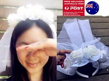 Women Flower Girl Bride White Rose Veil Halloween Party Hair band Headband CROWN
