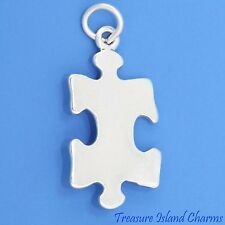 Jigsaw Puzzle Piece Autism Symbol .925 Sterling Silver Charm Pendant MADE IN USA