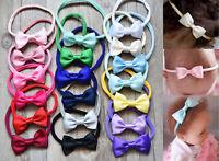 Baby Girls Satin Bow Soft Skinny Elastic Nylon Headband Hair Band Accessories