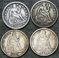 1854 +1877-S +1887 +1891 Seated Liberty Dimes ---- NICE LOT ---- #Z151
