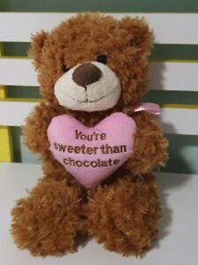 KORIMCO TEDDY BEAR YOU'RE SWEETER THAN CHOCOLATE PINK HEART 30CM BEANS INSIDE