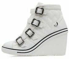 Womens Sneakers High Top Shoes Fashion Trainers High Heel Wedge Lace Up Canvas 2763
