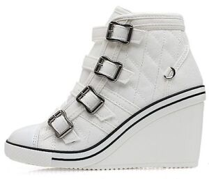 New Women's Casual Canvas High Tops High Heel Wedges Shoes Fashion Sneakers