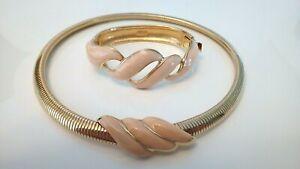 MONET Vtg Cream Enamel & Gold Snake Collar Necklace w/ Matching Bangle Bracelet.