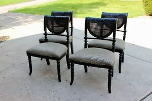 Set/4 Vintage Neoclassical Double Cane Carved Empire French Dining Chairs