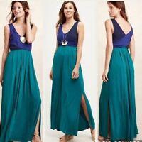 Anthropologie Maeve Elysian Blue Green Colorblock Maxi Dress Womens Size S