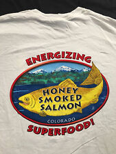 HONEY SMOKED FISH COMPANY Salmon Colorado Seafood White  T-Shirt Sz.L