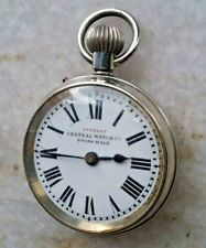 EVEREST CENTRAL WATCH CO. WINDING POCKET WATCH PORCELAIN DIAL VINTAGE