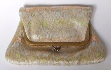 "Vintage ""Lovely"" White Pastel & Gold Metallic Fold Over Small Clutch Coin Purse"