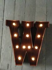 LED LIGHT CARNIVAL CIRCUS  RUST  METAL LETTER  W - WALL OR FREE STANDING 13INCH