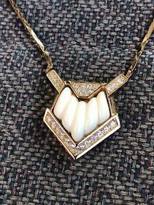 "Vintage Christian Dior 16"" Necklace W/Rhinetones Nice"