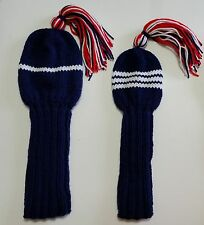 SET/2 Any Color #1, 3, 4, or  5 Hand Knit GOLF CLUB HEADCOVERS Driver, Wood