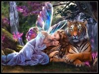 Fairy with Tiger - DIY Chart Counted Cross Stitch Patterns Needlework