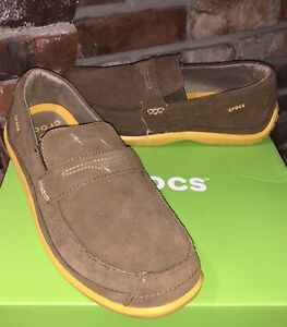 Crocs Mens Walu Suede Slip-On Loafers Shoes Size 9 BRAND NEW