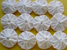 100 1 1/2 inch white on white fabric yo yos