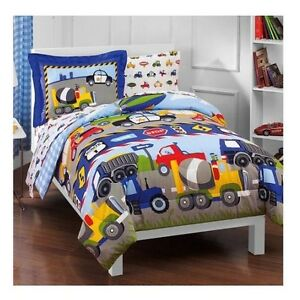 Toddler Boy Comforter Set 5 Piece Twin Kids Bedroom Tractors Cars Bedding Sheets