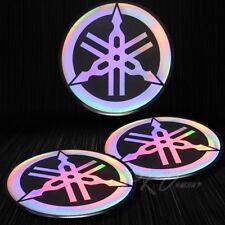 """2 x 2-1/8"""" 3D """"Laser"""" Emblem Decal Logo Fairing/Fender Sticker Yamaha Neo Chrome"""