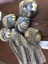 6 Knäuel LANA GROSSA Olympia Wolle natur/grau/beige mit Rundstricknadel