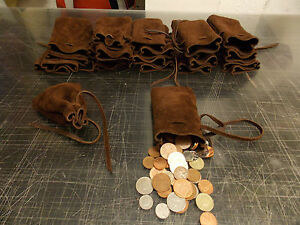 Medieval Larp Reenactment Brown Leather Heavy Duty DRAWSTRING MONEY POUCH BAG