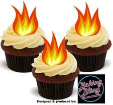 12 Novelty Fire Flames STAND UP Edible Cake Toppers Cupcake Decorations Fun