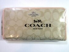 New in Package COACH F54633 OUTLINE SIGNATURE Accordion Wallet Light Khaki Pink