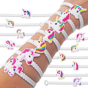 2/10PC Unicorn Wristband Silicone Bracelet Bangles Kids Toy Birthday Party Decor