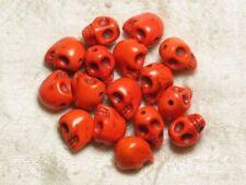 10pc - Perles Crâne Tête de Mort 12mm Oranges  4558550031754