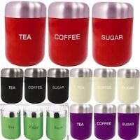 SET OF 3 TEA COFFEE SUGAR CANISTERS KITCHEN STORAGE STAINLESS STEEL POTS NEW