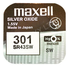 GENUINE Maxell 301 SR43SW Silver Oxide Watch Battery 1.55v [1-pack]