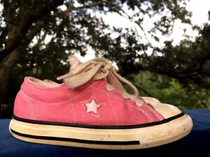 CONVERSE ONE STAR Pink Canvas Sneakers Girls Athletic Toddler Shoes Size 8