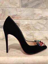 NIB Christian Louboutin Diva Cora 100 Black Velvet Bead Heart Heel Pump 34 $1295