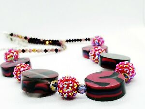 Women's Necklace Catalogue Fashion Jewellery – SPARK PINK FLAT FACETED BEAD NECK