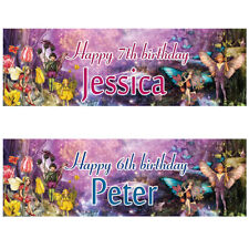 2 personalised birthday banner fairy tale children kid party poster decoration