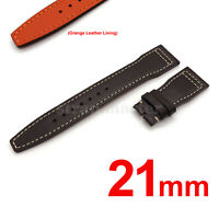 21mm Brown Genuine Cow Leather Band Strap for IWC Pilot Watch Deployment Buckle