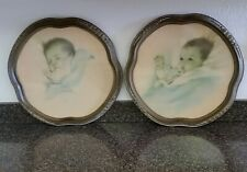 Antique Victorian Pair of Colored Baby Pictures in Matte Gold Gesso Frames Early