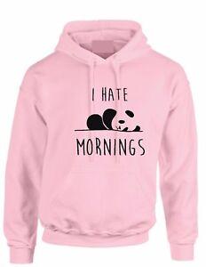 I Hate Mornings Panda Hoody  Animal Lover Tumblr Hoodie kid Adult hooded top