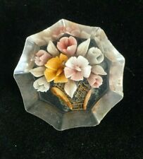 Reverse Carved Pastel Flowers in Vase Acrylic Pin Brooch
