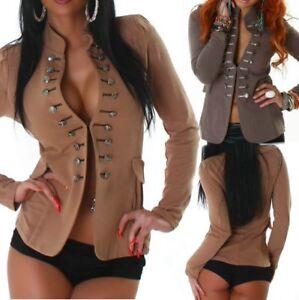 Sexy Miss Damen Blazer Weste Knöpfe Military Jacke XS S hell braun Espresso Neu