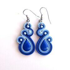 Cobalt Dark Blue Long Dangle Bridal Bridesmaid Wedding Party Earrings Jewelry