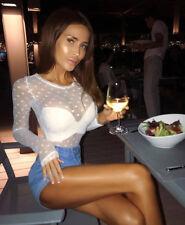 Sexy Women Polka Dot Transparent Mesh Sheer Crop Top T-Shirt Blouse Tee Tops